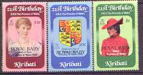 Kiribati 1982 Birth of Prince William opt on 21st birthday of Princess of Wales perf set of 3 unmounted mint, SG 186-88 (gutter pairs available - price x 2)