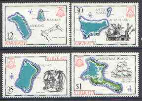 Kiribati 1981 Island Maps #1 set of 4, SG 145-48 (gutter pairs available - price x 2) unmounted mint, stamps on maps