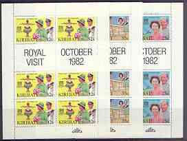 Kiribati 1982 Royal Visit perf set of 3 each in unmounted mint sheetlets of 6 plus 2 labels, SG 193-95