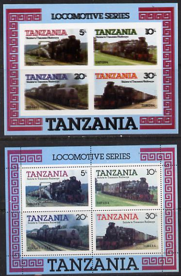 Tanzania 1985 Locomotives unmounted mint imperf m/sheet with entire design printed twice, (SG MS 434) plus perforated normal, superb