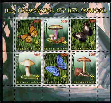 Benin 2007 Fungi & Butterflies (with Scout Logo) perf sheetlet containing 6 values unmounted mint. Note this item is privately produced and is offered purely on its thema...