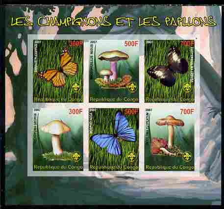 Benin 2007 Fungi & Butterflies (with Scout Logo) imperf sheetlet containing 6 values unmounted mint. Note this item is privately produced and is offered purely on its thematic appeal