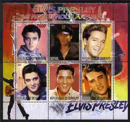 Djibouti 2007 Elvis Presley - King of Rock 'n' Roll #1 perf sheetlet containing 6 values unmounted mint. Note this item is privately produced and is offered purely on its thematic appeal