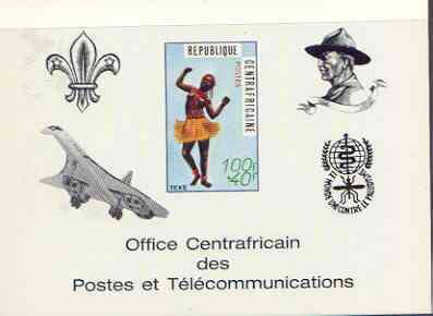 Central African Republic 1971 Traditional Dances 100f + 40f deluxe proof card in full issued colours (as SG 236) opt'd in black showing Scout logo, Baden Powell, Concorde & Anti Malaria Logo