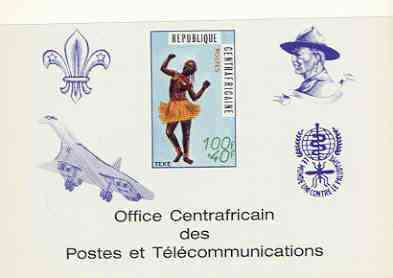 Central African Republic 1971 Traditional Dances 100f + 40f deluxe proof card in full issued colours (as SG 236) opt'd in blue showing Scout logo, Baden Powell, Concorde & Anti Malaria Logo