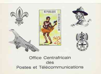Central African Republic 1971 Traditional Dances 140f + 40f deluxe proof card card in full issued colours (as SG 237) opt'd in black showing Scout logo, Baden Powell, Concorde & Anti Malaria Logo