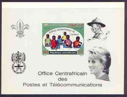 Central African Republic 1971 UNICEF deluxe proof card in full issued colours (as SG 268) opt'd in black showing Scout logo, Baden Powell, Anti Malaria Logo & Princess Di