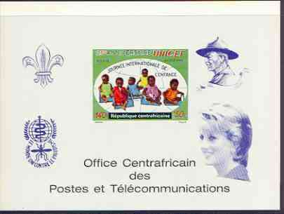 Central African Republic 1971 UNICEF deluxe proof card in full issued colours (as SG 268) opt'd in blue showing Scout logo, Baden Powell, Anti Malaria Logo & Princess Di