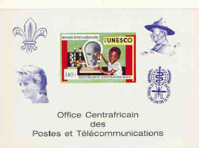Central African Republic 1971 UNESCO deluxe proof card in full issued colours (as SG 267) opt'd in blue showing Scout logo, Baden Powell, Princess Di & Anti Malaria Logo