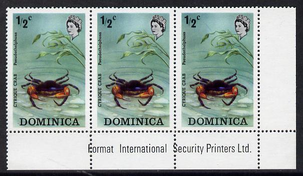 Dominica 1973 Flora & Fauna 1/2c Cyrique Crab imprint corner strip of 3, one stamp with variety 'red line infront of D of Dominica' (R5/8) unmounted mint