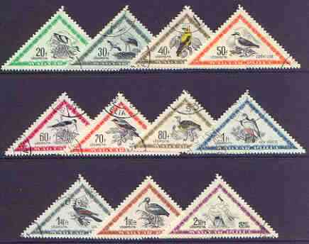 Hungary 1952 Birds - triangular perf set of 11 cto used, SG 1224-34