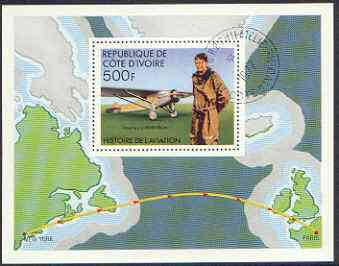 Ivory Coast 1977 History of Aviation perf m/sheet (Lindbergh) cto used, SG MS 502