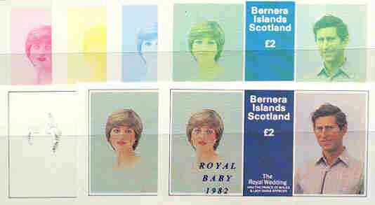 Bernera 1982 Royal Baby opt on Royal Wedding deluxe sheet (\A32 value) the set of 7 imperf progressive colour proofs comprising the four individual colours plus various c...