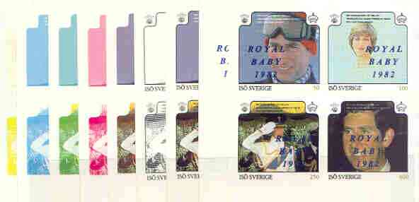 Iso - Sweden 1982 Royal Baby opt on Royal Wedding deluxe sheet, the set of 9 imperf progressive colour proofs comprising single colours and various colour combinations incl completed design unmounted mint
