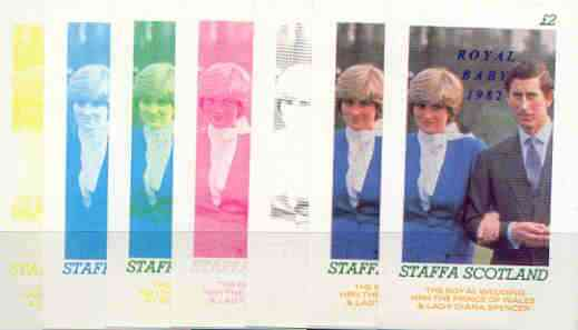 Staffa 1982 Royal Baby opt on Royal Wedding deluxe sheet (\A32 value) the set of 7 imperf progressive colour proofs comprising the four individual colours plus various composites incl completed design unmounted mint