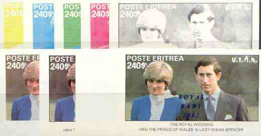 Eritrea 1982 Royal Baby opt on Royal Wedding deluxe sheet (240 value) the set of 9 imperf progressive colour proofs comprising the four individual colours plus various composites incl completed design