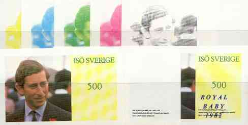 Iso - Sweden 1982 Royal Baby opt on Royal Wedding 500 souvenir sheet (Prince Charles), the set of 8 imperf progressive proofs comprising the individual colours plus various colour combinations unmounted mint