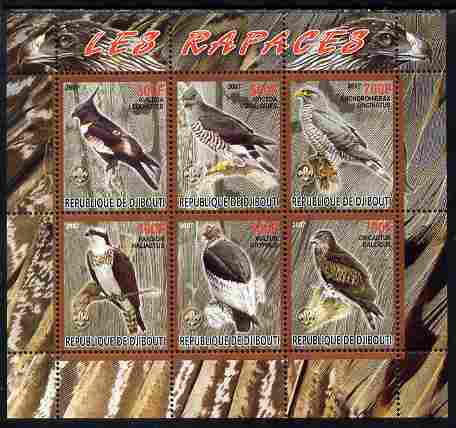 Djibouti 2007 Birds of Prey with Scout Logos perf sheetlet containing 6 values unmounted mint. Note this item is privately produced and is offered purely on its thematic appeal