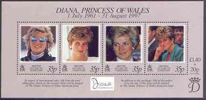 British Antarctic Territory 1998 Diana Princess of Wales Commemoration perf m/sheet unmounted mint, SG MS 280