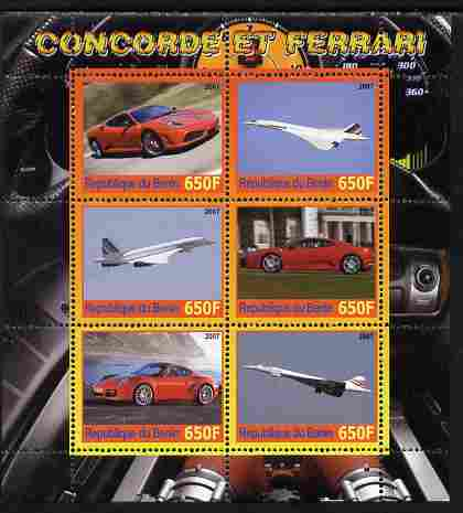 Benin 2007 Concorde & Ferrari #1 perf sheetlet containing 6 values unmounted mint. Note this item is privately produced and is offered purely on its thematic appeal