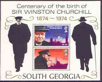 Falkland Islands Dependencies - South Georgia 1974 Churchill Birth Centenary perf m/sheet unmounted mint, SG MS 42