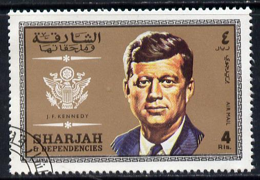 Sharjah 1969 J F Kennedy 4r from Prominent Persons set of 12, very fine cto used, Mi 536*