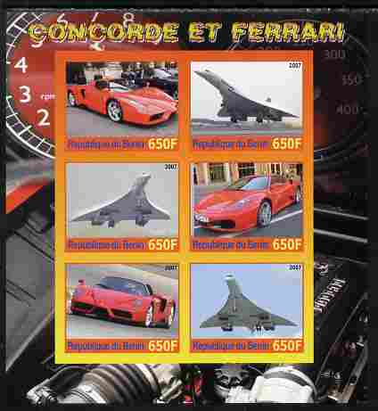Benin 2007 Concorde & Ferrari #3 imperf sheetlet containing 6 values unmounted mint. Note this item is privately produced and is offered purely on its thematic appeal, stamps on aviation, stamps on concorde, stamps on cars, stamps on ferrari