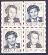 Booklet - Sweden 1996 Europa - Famous Women booklet pane of 4 (2 se-tenant pairs) unmounted mint, SG 1866a
