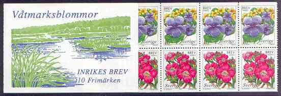 Booklet - Sweden 1998 Wetland Flowers 50k booklet complete and pristine, SG SB 517, stamps on flowers, stamps on
