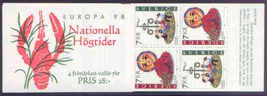 Booklet - Sweden 1998 Europa - National Festivals 28k booklet complete and pristine, SG SB 520