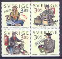 Sweden 1996 Four Decades of Youth perf set of 4 unmounted mint, SG 1887-90, stamps on youth, stamps on bicycles, stamps on motorbikes, stamps on  oil , stamps on music, stamps on peace