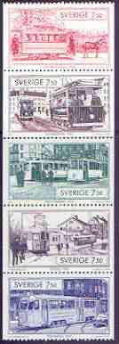 Booklet - Sweden 1995 Trams booklet pane containing complete set of 5 values unmounted mint, SG 1813a