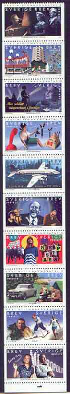 Booklet - Sweden 1999 The Twentieth Century (2nd issue) booklet pane containing complete set of 10 values unmounted mint, SG 2026a