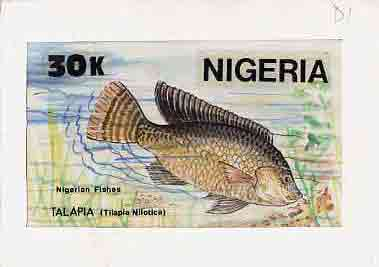 Nigeria 1991 Fishes - original hand-painted artwork for 30k value (Talapia) by Godrick N Osuji on card 9 x 5 endorsed D1