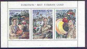 Sweden 1994 Europa - Swedish Explorers set of 3 in se-tenant strip unmounted mint, SG 1755-57
