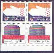Booklet - Sweden 1998 Handicrafts booklet pane containing 2 x 2 8k values in block of 4 unmounted mint, as SG 1968a