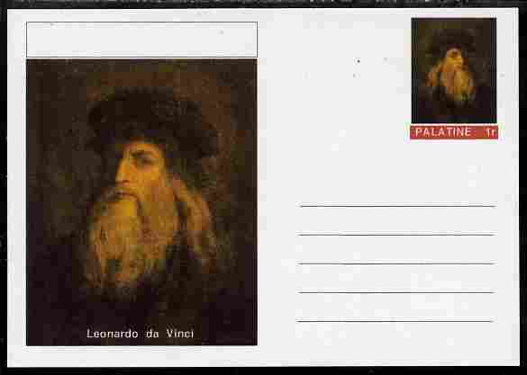 Palatine (Fantasy) Personalities - Leonardo da Vinci postal stationery card unused and fine