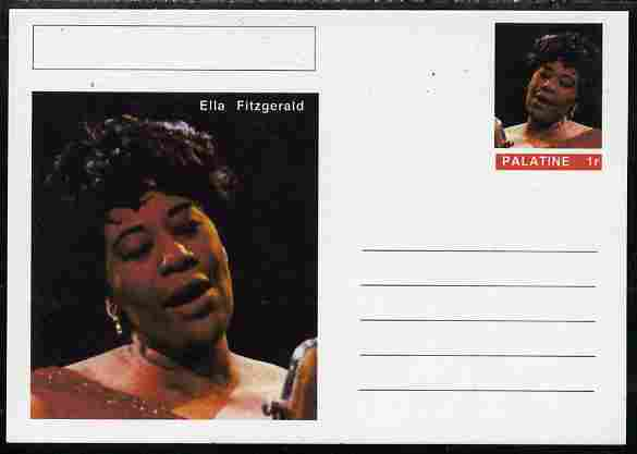 Palatine (Fantasy) Personalities - Ella Fitzgerald postal stationery card unused and fine