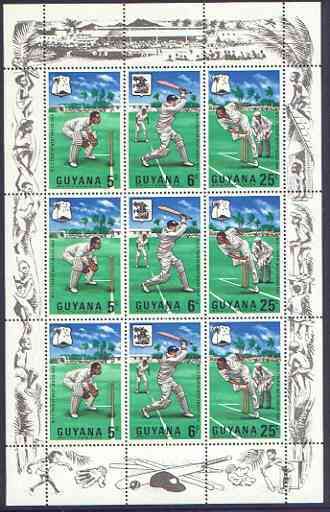 Guyana 1968 MCC's West Indies Tour perf sheetlet containing 3 strips of 3 unmounted mint, as SG 445a