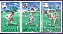 Guyana 1968 MCC's West Indies Tour perf strip of 3 unmounted mint, SG 445a