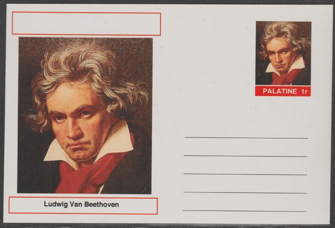 Palatine (Fantasy) Personalities - Ludwig Van Beethoven (Composer) postal stationery card unused and fine