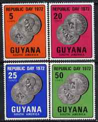 Guyana 1972 Republic Day perf set of 4 (Coins) unmounted mint, SG 561-64*, stamps on coins
