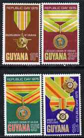 Guyana 1975 Republic Day perf set of 4 (Orders & Decorations) unmounted mint, SG 621-24