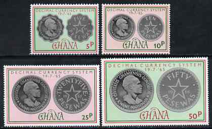 Ghana 1965 Introduction of Decimal Currency perf set of 4 unmounted mint, SG 377-80