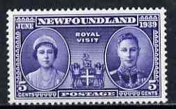 Newfoundland 1939 KG6 Royal Visit 5c unmounted mint, SG 272