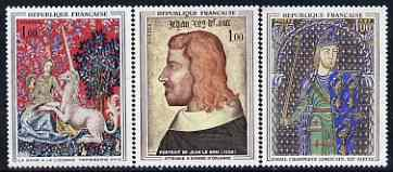 France 1964 French Art perf set of 3 unmounted mint, SG 1637-39