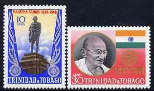 Trinidad & Tobago 1970 Gandhi Centenary Year perf set of 2 unmounted mint, SG 376-77
