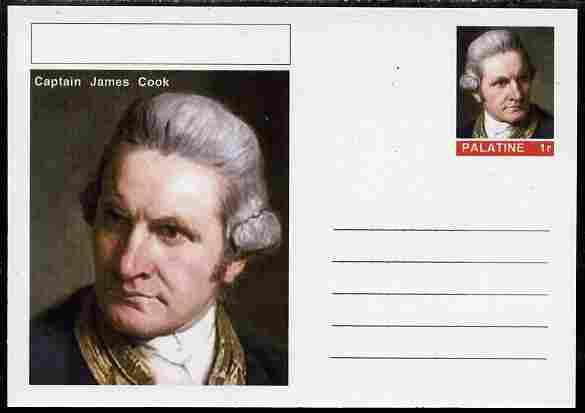 Palatine (Fantasy) Personalities - Capt James Cook (explorer) postal stationery card unused and fine