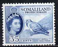 Somaliland 1953-58 Stock Dove (Rock Pigeon) 35c blue unmounted mint, SG 142