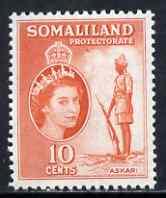 Somaliland 1953-58 Sentry, Somali Scouts 10c orange unmounted mint, SG 138
